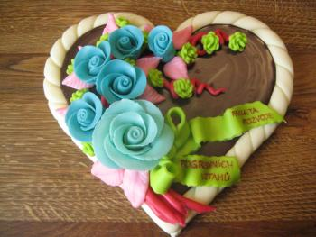 Heart with blue roses